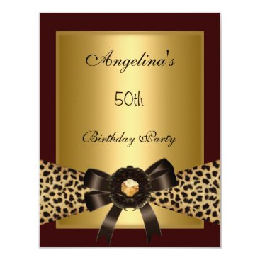 Coffee Themed Gold Leopard Coffee Brown Black 50th Birthday 3 Card