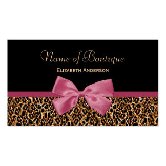 Gold Leopard Fur Chic Mauve Pink Bow Boutique Double-Sided Standard Business Cards (Pack Of 100)
