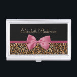 """Gold Leopard Fur Chic Sangria Pink Bow With Name Business Card Case<br><div class=""""desc"""">An elegant tawny gold leopard fur print business card case with a chic sangria pink ribbon tied into a stylish bow. Personalize this trendy pink and gold animal print fashion accessory to bring out the fashionista in any woman by adding your name. Flat printed image, not actual fur or ribbon....</div>"""