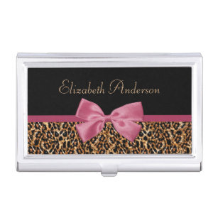 Pink gold business card holders cases zazzle gold leopard fur chic sangria pink bow with name business card case colourmoves