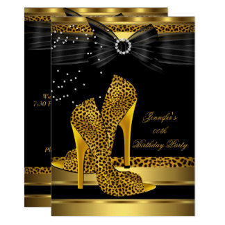 Gold Leopard High Heel Black Bow Birthday Party 3 Card