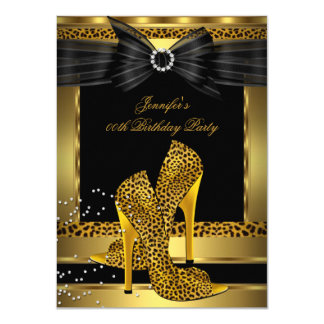 Gold Leopard High Heel Shoe Black Birthday Party 4.5x6.25 Paper Invitation Card