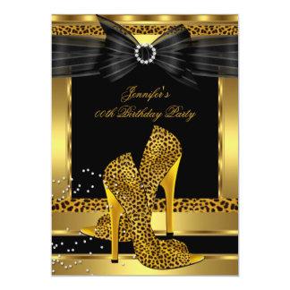 Gold Leopard High Heel Shoe Black Birthday Party Card