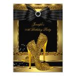 "Gold Leopard High Heel Shoe Black Birthday Party 4.5"" X 6.25"" Invitation Card"