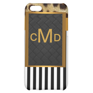 Gold Leopard Monogram Stripes iPhone 4 Speck Case iPhone 5C Cover