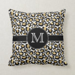 Gold Leopard Personalized Monogram Throw Pillow