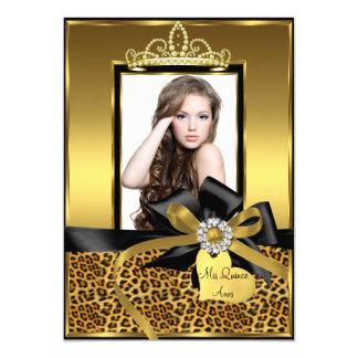 Gold Leopard Print & Bow Photo Quinceanera Invite