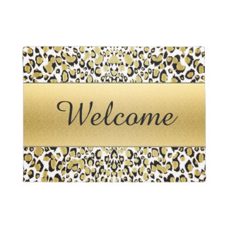 Gold Leopard Print Customizable Welcome Mat