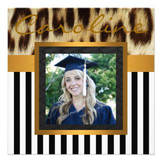 Gold Leopard Stripes Grad Photo Invite