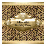 Gold Leopard Womans 40th Birthday Party Custom Invitation