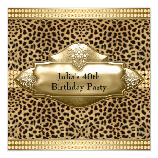 Gold Leopard Womans Birthday Party 5.25x5.25 Square Paper Invitation Card