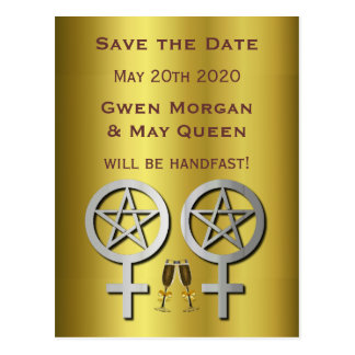 Gold Lesbian Wiccan Wedding Save the Date Postcard