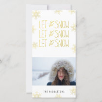 Gold Let It Snow Snowflakes Modern Holiday