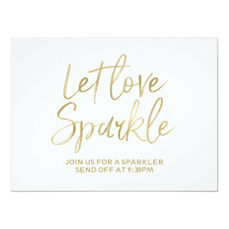 "Gold ""Let love sparkle"" Sparkler Send Off Sign Card"