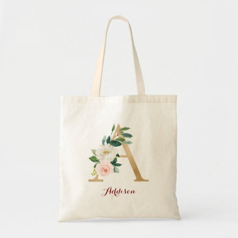 Gold Letter A and Blush Floral Personalized Tote Bag