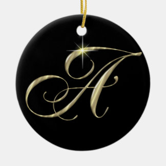 Gold Letter A Monogram Initial Ornament Fan Pull
