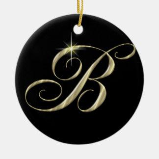 Gold Letter B Monogram Initial Ornament Fan Pull