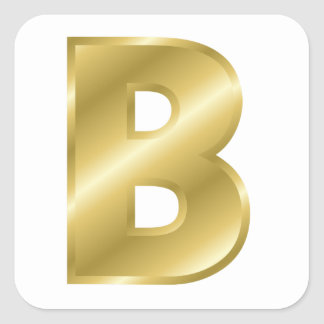 Gold Letter B Square Stickers