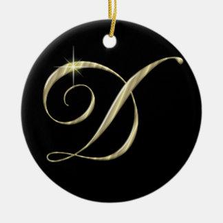 Gold Letter D Monogram Initial Ornament Fan Pull