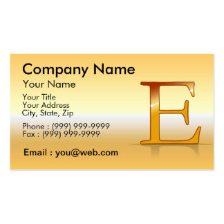 "gold letter ""E "" Business Card Template"