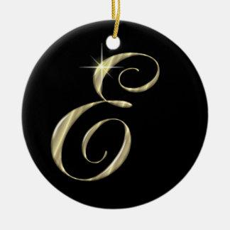 Gold Letter E Monogram Initial Ornament Fan Pull