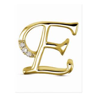 "GOLD LETTER "" E ""WITH DIAMONDS POSTCARD"