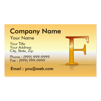"gold letter ""F "" Business Card Template"