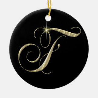 Gold Letter F Monogram Initial Ornament Fan Pull