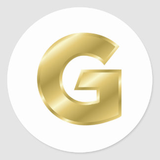 Gold Letter G Classic Round Sticker