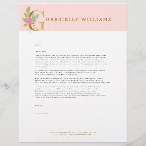 Gold letter G floral monogram Letterhead