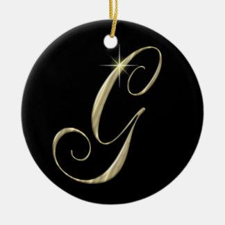 Gold Letter G Monogram Initial Ornament Fan Pull