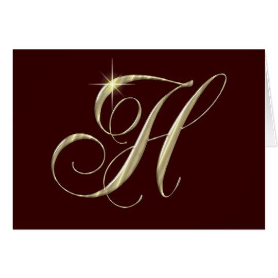 Gold Letter H Monogram Initial Gift Card