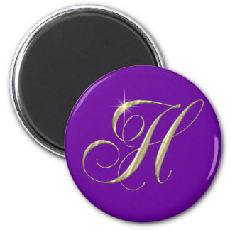 Gold Letter H Monogram Initial Gift Refrigerator Magnets