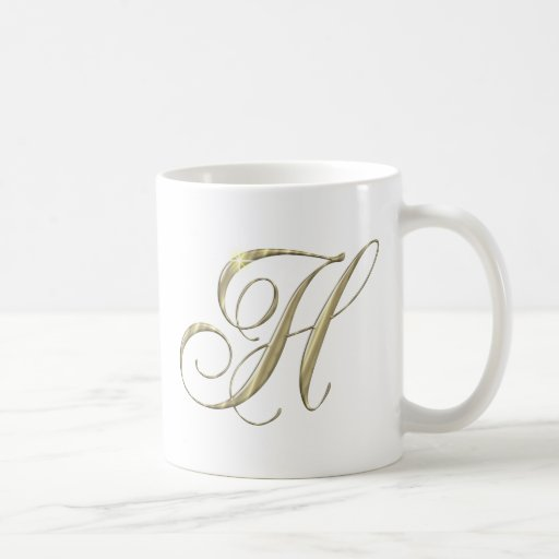 Gold Letter H Monogram Initial Gift Classic White Coffee Mug