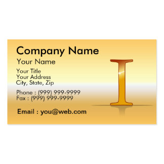 "gold letter ""I "" Business Card Templates"