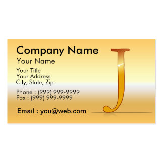 "gold letter ""J "" Business Card Template"