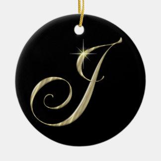 Gold Letter J Monogram Initial Ornament Fan Pull