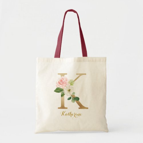 Gold Letter K and Blush Floral Personalized Tote Bag
