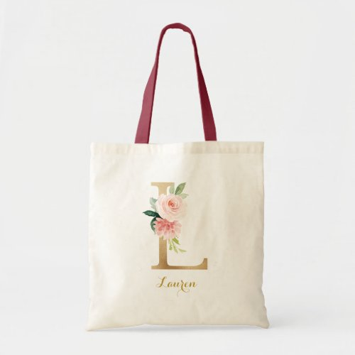 Gold Letter L and Blush Floral Personalized Tote Bag