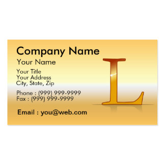 "gold letter ""L "" Business Cards"
