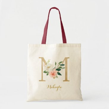 Gold Letter M and Blush Floral Personalized Tote Bag