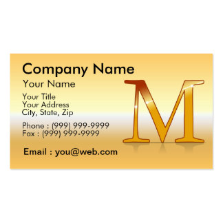 "gold letter ""M "" Business Card Template"