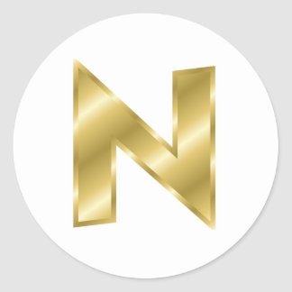 Gold Letter N Stickers
