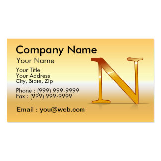 "gold letter ""NR "" Business Card"