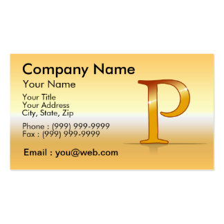 "gold letter ""P "" Business Card"