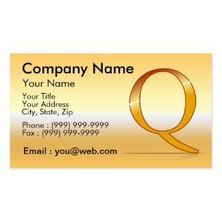 "gold letter ""Q "" Business Card"
