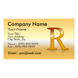 "gold letter ""R "" Business Card"