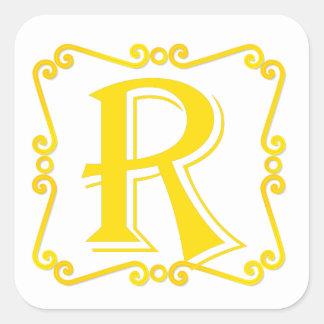 Gold Letter R Square Sticker