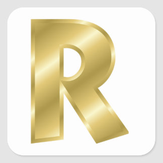 Gold Letter R Stickers