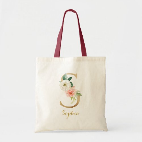 Gold Letter S and Blush Floral Personalized Tote Bag
